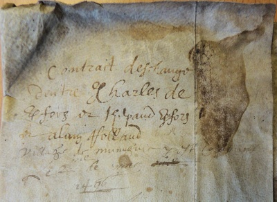 "Note sur doc de mai 1496 : ""Contract deschange dentre Charles de Kerfors et Thebault Kerfors et Allain Rolland, village de Munuguic """