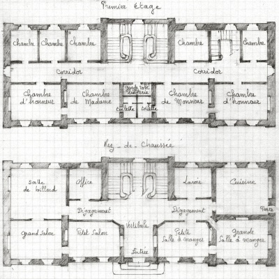 Plans du rez de chauss e et du 1er tage recopi s de l for Conception de plans de manoir